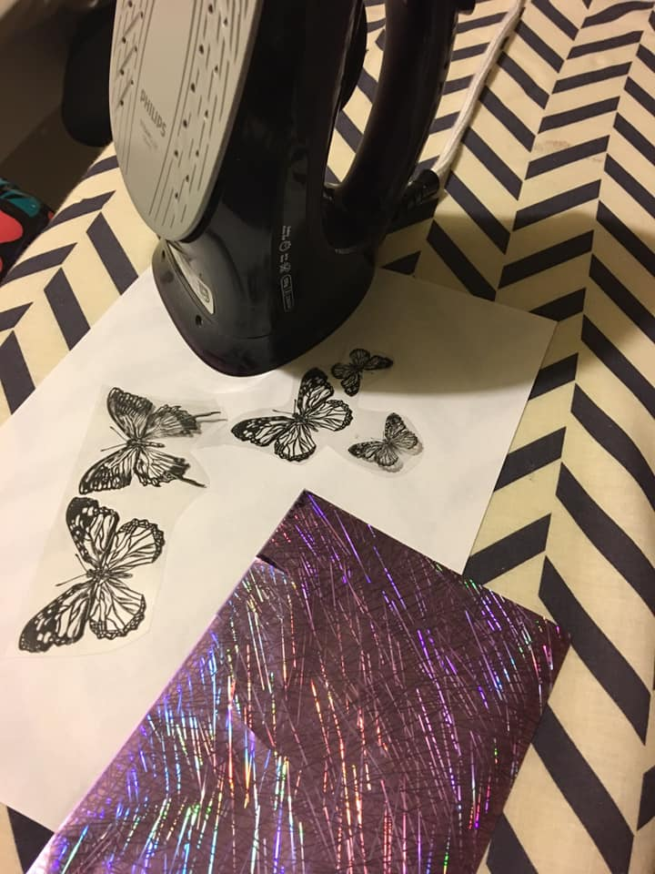 Fusing foil onto acetate butterflies